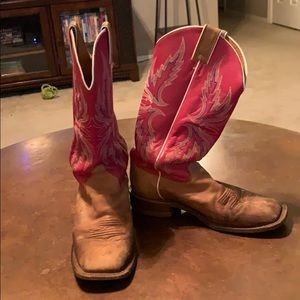 Pink and brown cowgirl boots